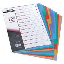 Разделитель страниц цветовой 12 страниц 2х6 цветов пласт.