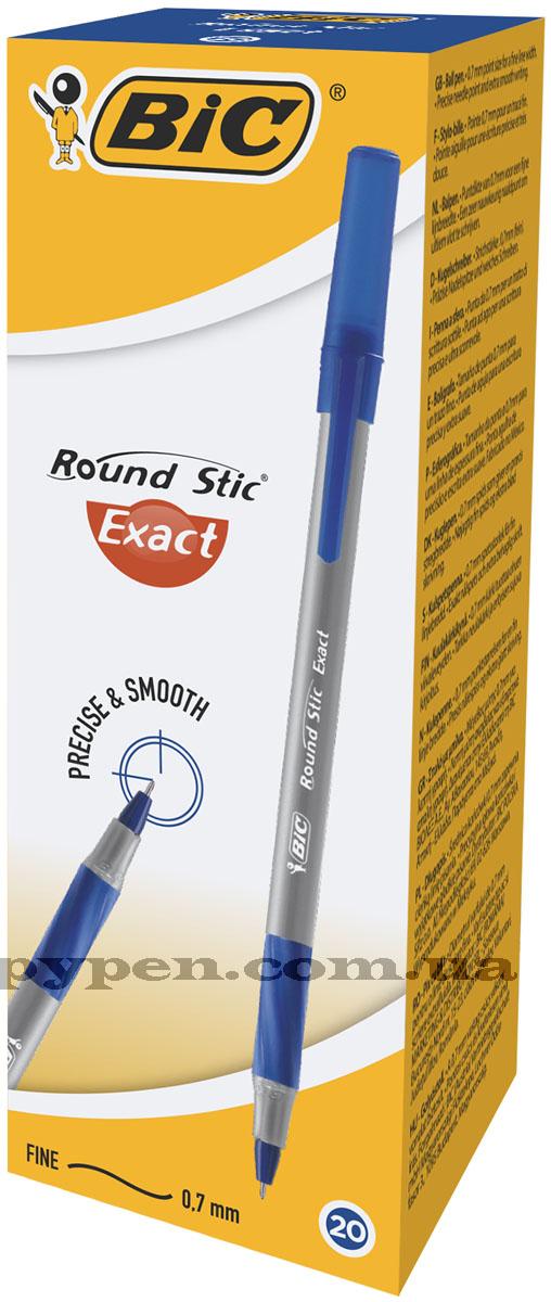 Ручка шариковая Round Stic Exact, корпус сер., стержень син. Bic - фото 2