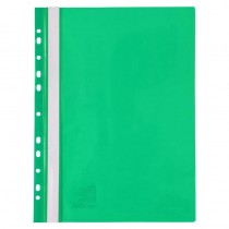Скоросшиватель с прозрачным верхом и перфорацией, А4, зелен.