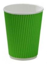 Стакан бумажный гофрированный 275мл., термо, 25шт./уп., зелен.