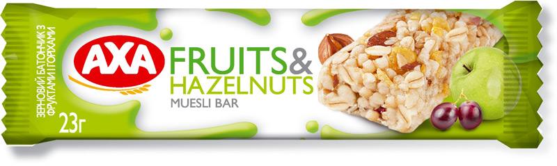 Батончик зерновой с фруктами и орехами, 23г. AXA - фото 1