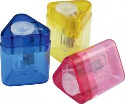 Точилка пластиковая Mini Tri с контейнером, ассорт.
