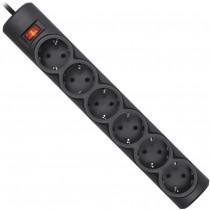 Фильтр-удлинитель на 6 розеток с заземлением, 5,0 метров, выключатель с предохранителем, черн.