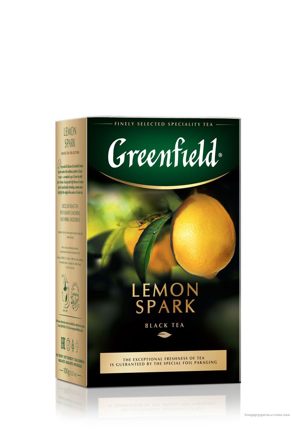 Чай черный ароматизированный Lemon Spark 100гр. Greenfield - фото 1