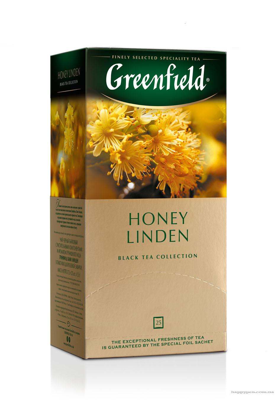 Чай черный ароматизированный Honey Linden 25пак. по 1,5гр., термосаше Greenfield - фото 1