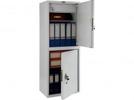 Шкаф бухгалтерский 2полки+отделение с замком, 2 двери, (1252*460*340см.) метал., замок