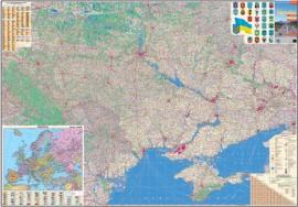 Карта Украины Автомобильные дороги 160*110см., ламинация/планки