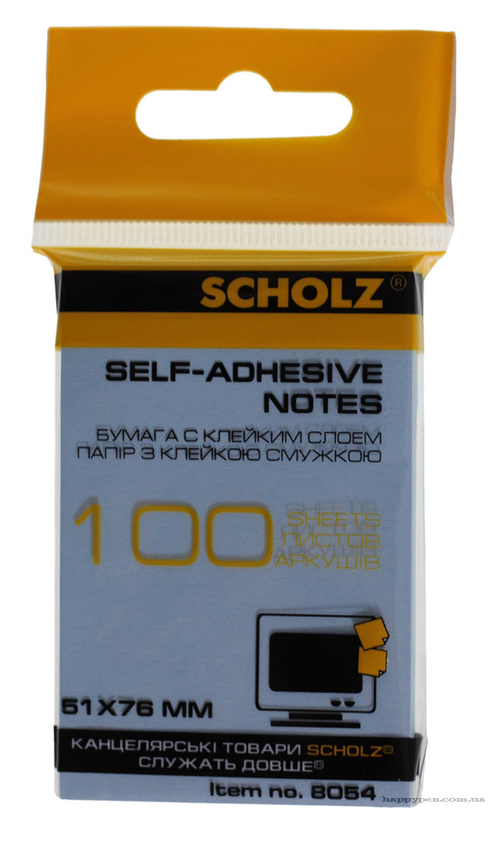 Блок бумаги с клейким слоем 51*76мм.*100 листов, ассорт. Scholz - фото 3