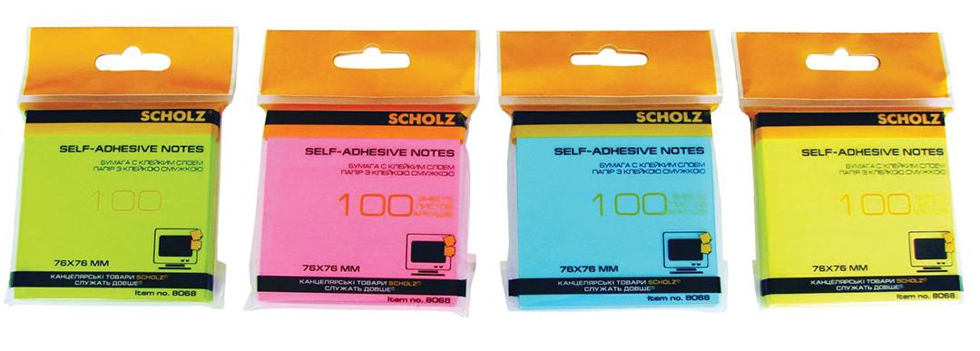 Блок бумаги с клейким слоем 76*76мм.*100 листов, неон., ассорт. Scholz - фото 1