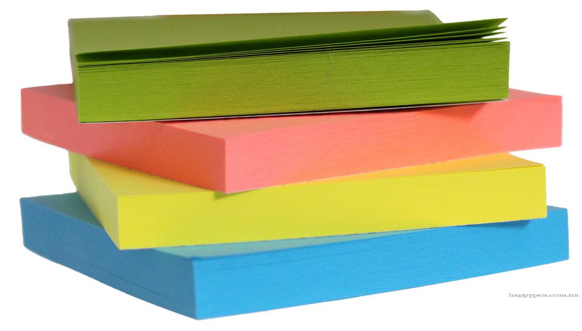 Блок бумаги с клейким слоем 76*76мм.*100 листов, неон., ассорт. Scholz - фото 2