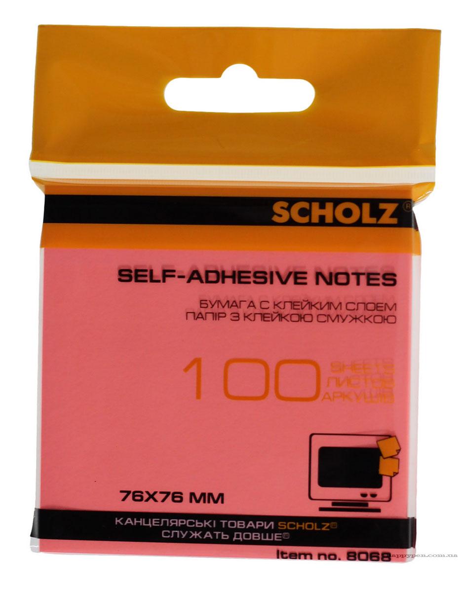 Блок бумаги с клейким слоем 76*76мм.*100 листов, неон., ассорт. Scholz - фото 3