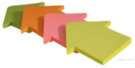 Блок бумаги с клейким слоем Стрелка, 69*65мм.*50 листов, неон., ассорт.