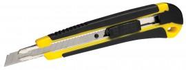 Нож канцелярский малый 9мм., метал. направляющая, прорезиненный корп.+2запасных лезв.