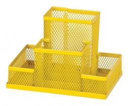 Подставка для ручек и канцтоваров на 4 отделения металлическая, желт.