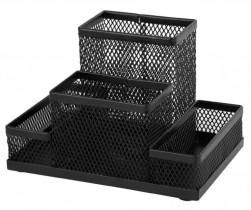 Подставка для ручек и канцтоваров на 4 отделения металлическая, черн.