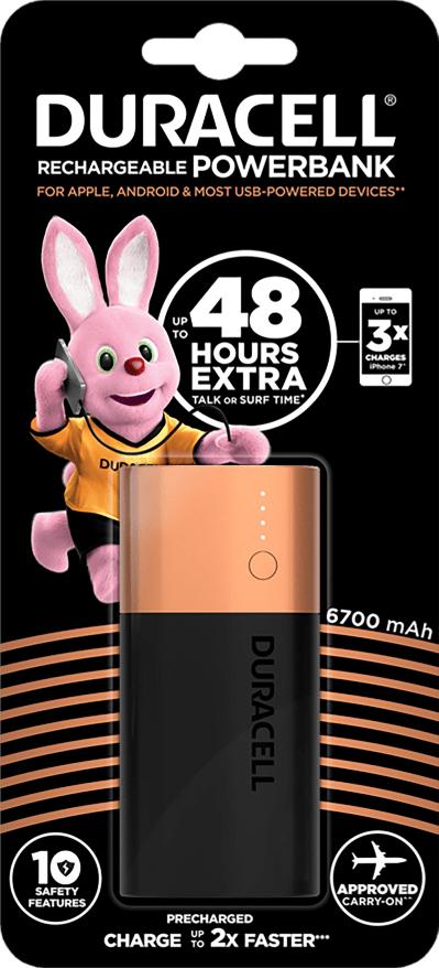 Аккумулятор-зарядка Power bank, емкость 6700мАч, выход 2,4А - 1 USB, вход - microUSB Duracell - фото 1