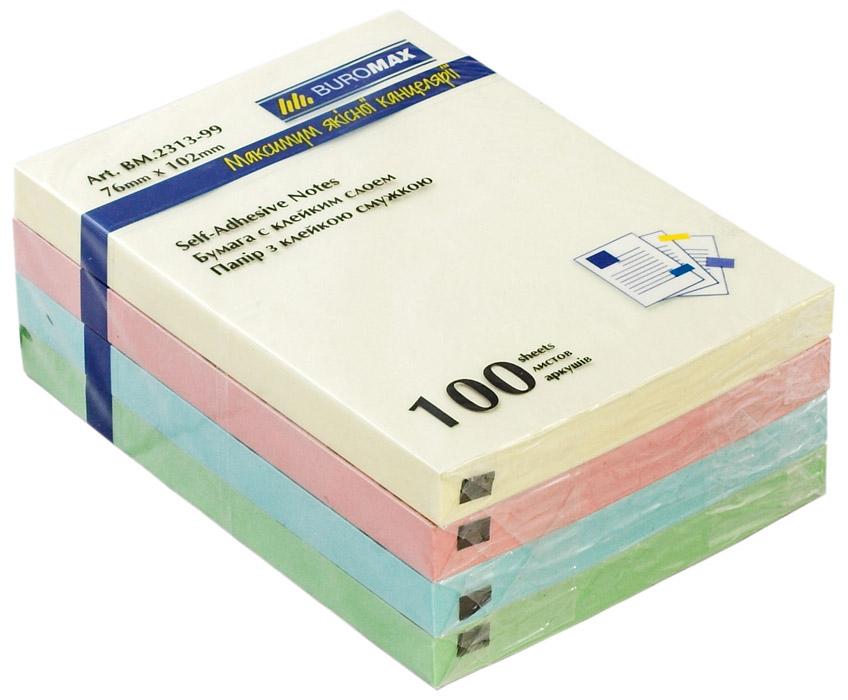 Блок бумаги с клейким слоем 102*76мм.*100 листов mix BuroMax - фото 1