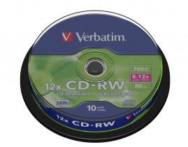 Диск CD-RW 700 Mb/80 min 12x 10шт./уп. Cake Box