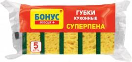 """Губки кухонные крупнопористые """"Суперпена"""", 90*64*35мм., 5шт./уп."""
