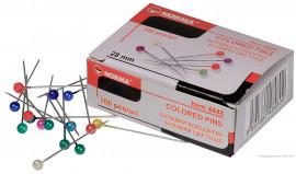 Булавки цветные 28мм., 100шт., карт. упак. ассорт.