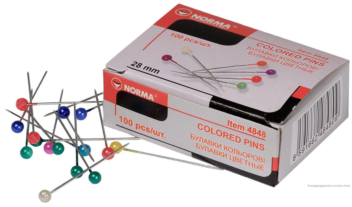 Булавки цветные 28мм., 100шт., карт. упак. ассорт. NORMA - фото 1