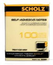 Блок бумаги с клейким слоем 102*76мм.*100 листов, желт.