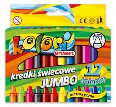Карандаши восковые 12цв. Premium Kolori Jumbo