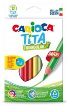 Карандаши цветные 12цв. Tita Maxi, треугольный пластиковый корпус, диаметр грифеля 4мм.