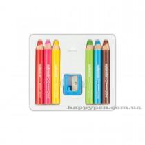 """Карандаши для детей 6цв. Kolori """"My 1 pencils""""  Super Jumbo 3 в 1, диаметр карандаша 15мм. + точилка"""