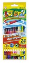 Карандаши цветные двусторонние 12/24цв. Premium Kolori, треугольные, + точилка