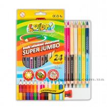 Карандаши цветные двусторонние 12шт/24цв. Kolori Premium Quality Super Jumbo, треуг., диам.гриф. 5мм