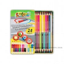 Карандаши цветные двусторонние 12шт/24цв. Kolori Premium Quality, треугольные в метал. коробке