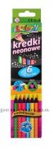 Карандаши цветные неоновые 6цв. Kolori, треугольные, диаметр грифеля 3мм., + точилка