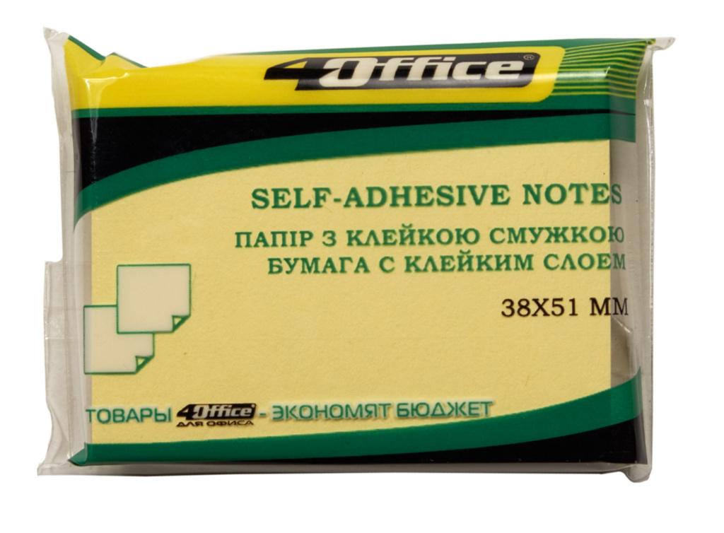 Блок бумаги с клейким слоем 38*51мм.*100 листов, ассорт. 4Office - фото 1