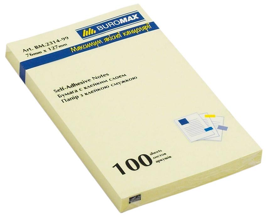 Блок бумаги с клейким слоем 127*76мм.*100 листов желт. BuroMax - фото 1