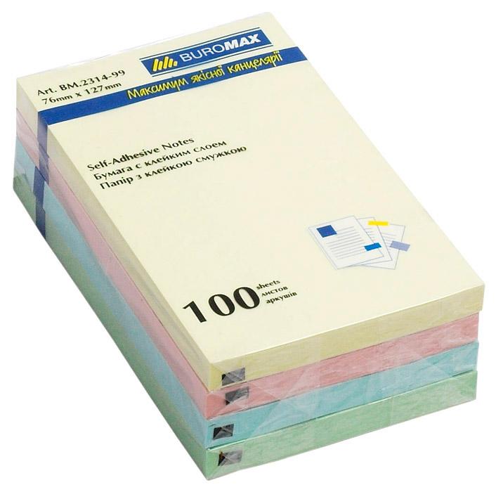 Блок бумаги с клейким слоем 127*76мм.*100 листов желт. BuroMax - фото 2