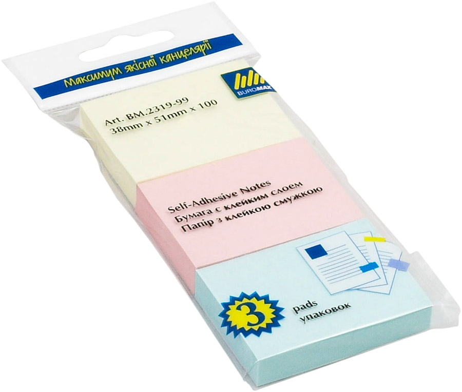 Блок бумаги с клейким слоем 38*51мм.*100 листов 3шт./уп. mix BuroMax - фото 1