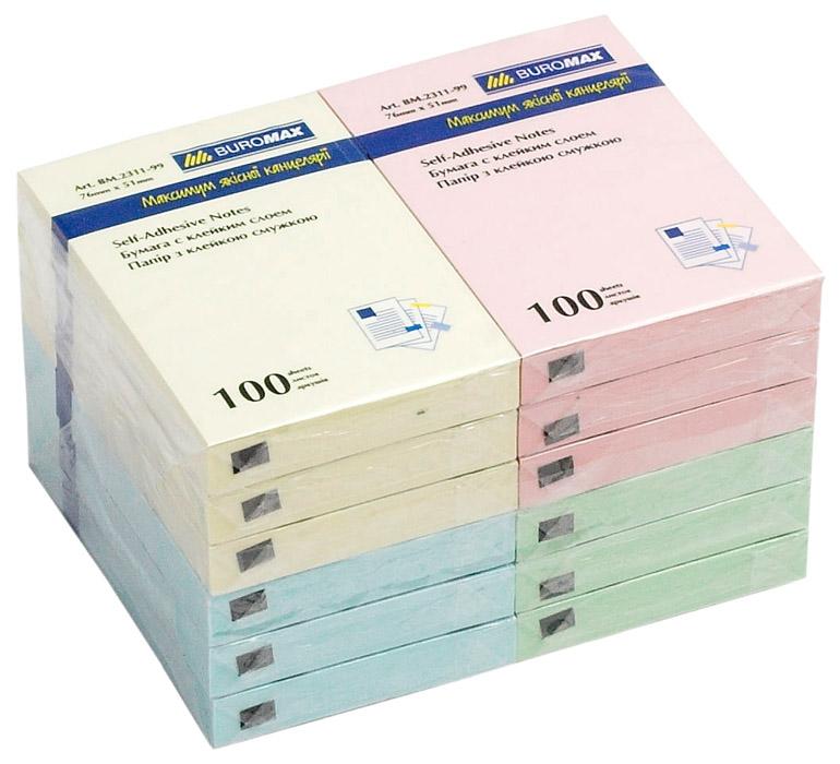 Блок бумаги с клейким слоем 51*76мм.*100 листов mix BuroMax - фото 1