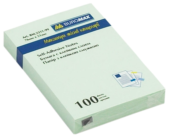 Блок бумаги с клейким слоем 51*76мм.*100 листов mix BuroMax - фото 5