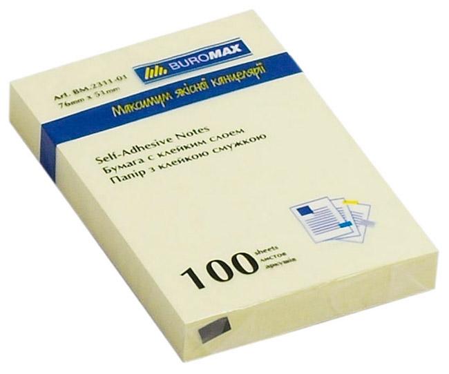 Блок бумаги с клейким слоем 51*76мм.*100 листов желт. BuroMax - фото 1