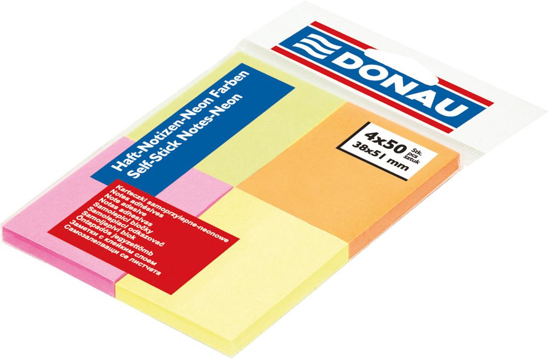 Блок бумаги с клейким слоем 38*51мм.*50 листов 4шт./уп. неоновый mix DONAU - фото 1
