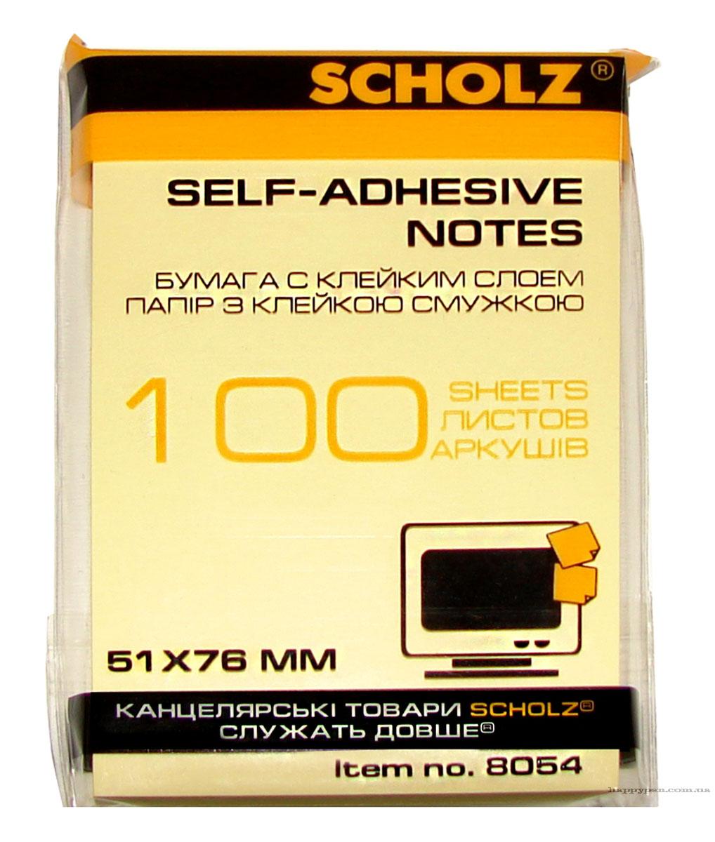 Блок бумаги с клейким слоем 51*76мм.*100 листов, желт. Scholz - фото 1
