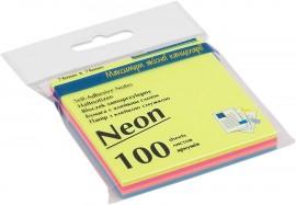 Блок бумаги с клейким слоем 76*76мм.*100 листов неоновая радуга