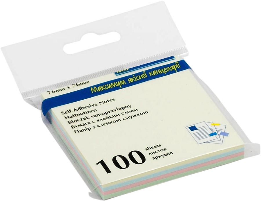 Блок бумаги с клейким слоем 76*76мм.*100 листов пастельная радуга BuroMax - фото 1
