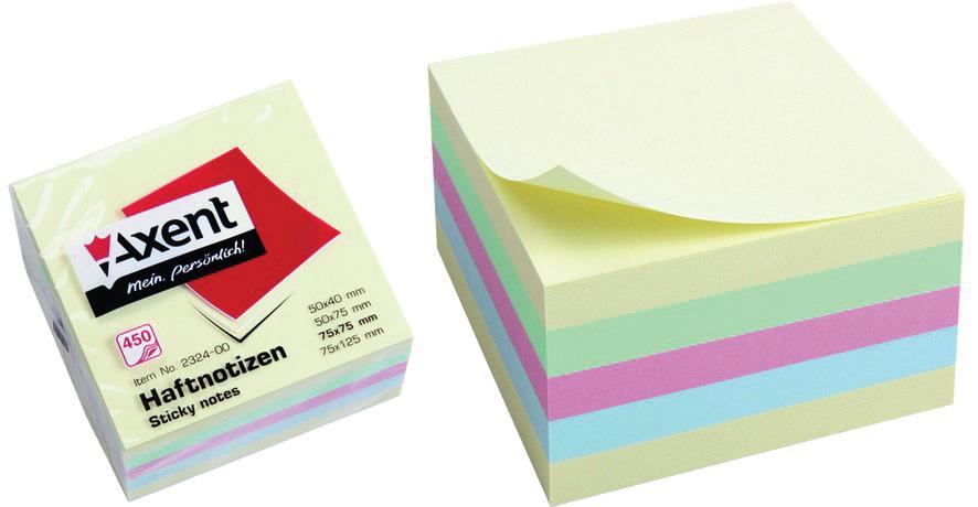 Блок бумаги с клейким слоем 75*75мм.*450 листов пастельная радуга Axent - фото 1