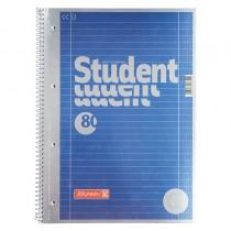 Колледж-блок А4 Premium, линейка, 80 листов, метал. голубой