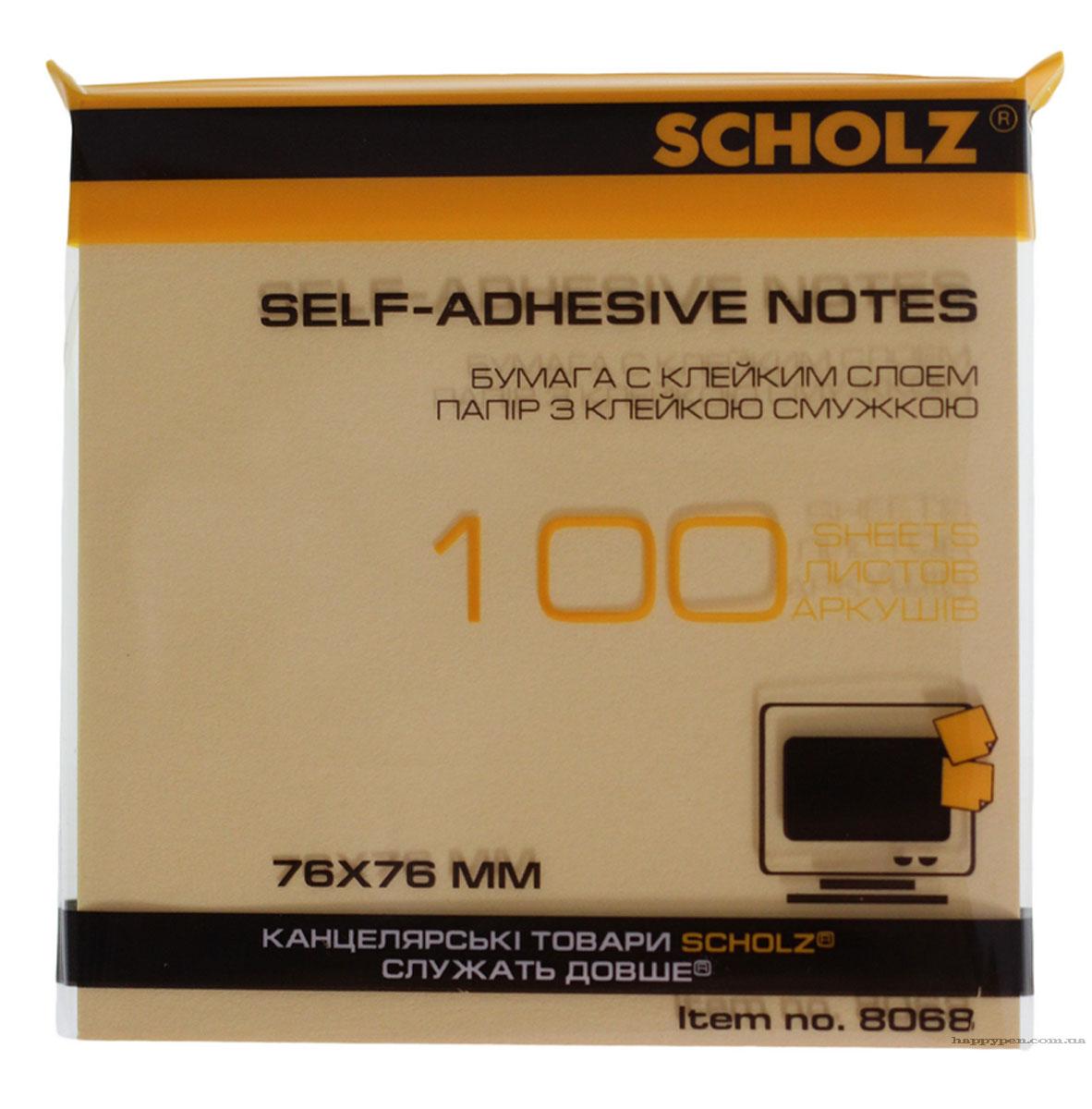 Блок бумаги с клейким слоем 76*76мм.*100 листов пастельный микс Scholz - фото 5