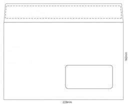 Конверт C5 162*229 отр. лента, окно, 80гр./м2. 500шт./уп., загрузка по длинной стороне