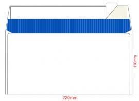 Конверт E65 110*220 отр. лента, фон, 80гр./м2. 100шт./уп., загрузка по длинной стороне