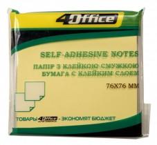 Блок бумаги с клейким слоем 76*76мм.*100 листов, желт.